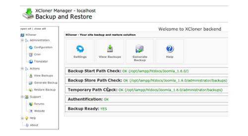 XCloner - Backup and Restore