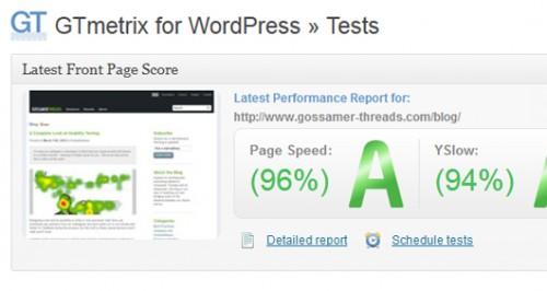 GTmetrix for WordPress