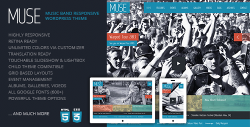 Muse: Music Band Responsive Theme