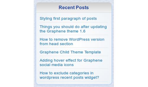 Custom Recent Posts Widget