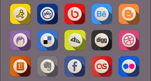 Free Advanced Flat Social Media Icons