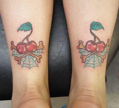 Cherry Spider Web Tattoo