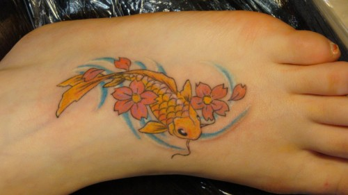 Cute Little Koi Fish Foot Tattoos