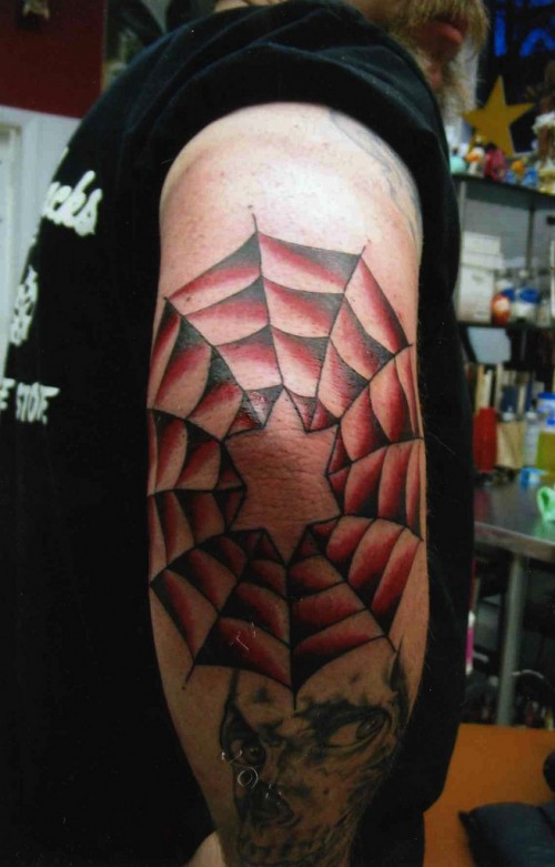 Spider Web Elbow Tattoo