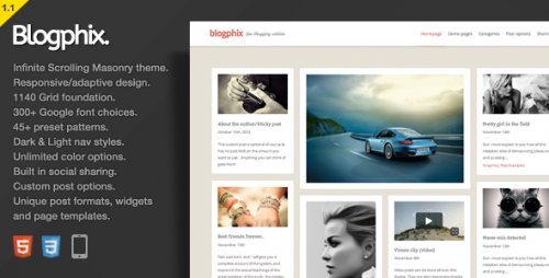 Blogphix - An Endless Scrolling WordPress Theme