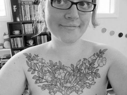 Flowers Chest Piece Tattoo Design