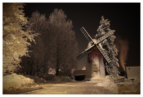 Winter Night Windmill