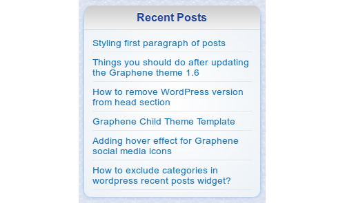 Custom Recent Posts Widget