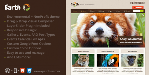 Earth - Eco, Environmental NonProfit WP Theme