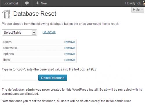 WordPress Database Reset