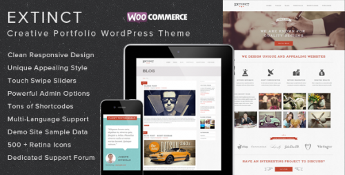 Extinct - Retro Vintage Portfolio WordPress Theme