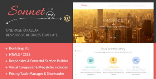 Sonnet One Page WordPress Portfolio Theme