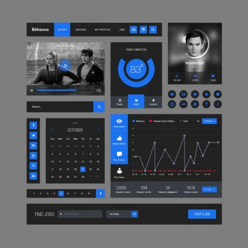 Behance Style Flat Ui Kit (PSD)