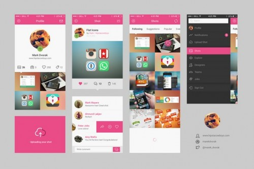 Dribbble App Concept PSD UI Kit