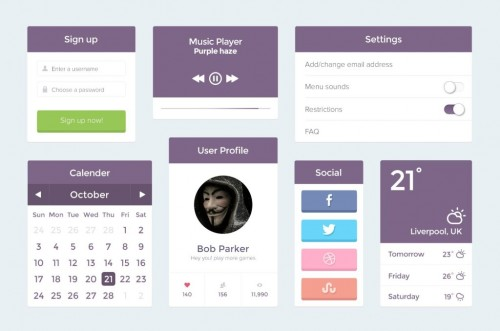 Purple Flat UI Kit