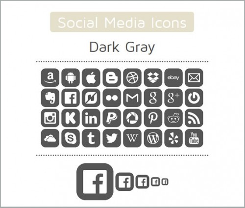 160 High Quality Digital Social Media Icons