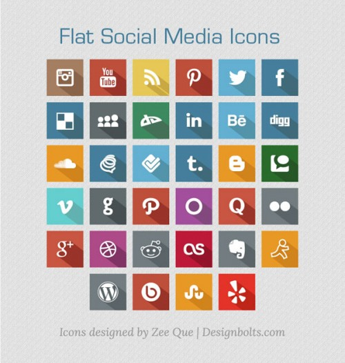 Long Shadow Flat Free Social Media Icons